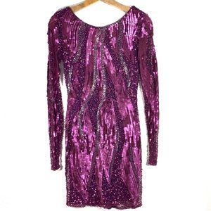 Cache Purple Sequin Long Sleeve Bodycon Dress